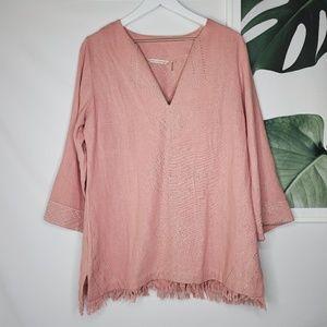 Soft Surroundings Silk Sand Drifts Tunic Pink Boho